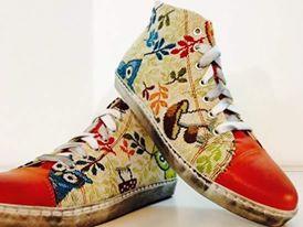 scarpe personalizzate con tessuto e pelle